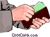 hands putting money in wallet Vector Clipart illustration