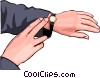 Vector Clip Art image  of a checking the time
