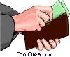 Vector Clip Art image  of a Hand placing money in wallet