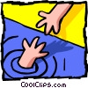 Vector Clip Art image  of a hand in water/ hand on land