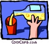 Vector Clip Art image  of a liquor bottle with hand