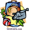 Holiday travel with video camera and luggage Vector Clip Art picture