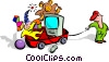Vector Clipart graphic  of a child with wagon of toys