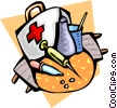 Vector Clip Art graphic  of a Items in a doctor's bag