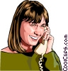 woman on phone Vector Clipart illustration