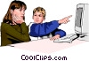 Vector Clip Art image  of a children working at computer
