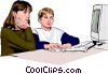 children working at the computer Vector Clip Art picture