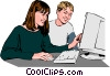Vector Clipart graphic  of a Children working at computer