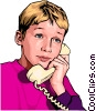 Vector Clipart picture  of a Child on phone