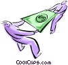 Vector Clipart graphic  of a stretching a dollar