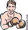 Vector Clipart illustration  of a Boxer sparring