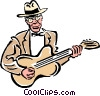 Vector Clip Art graphic  of a musician/guitar player