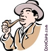 Vector Clip Art graphic  of a man smoking pipe