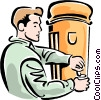 Vector Clip Art image  of a man getting a drink