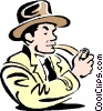 man smoking pipe Vector Clipart illustration