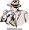 Vector Clip Art image  of a man smoking pipe