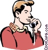Vector Clip Art image  of a young man on phone