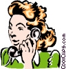 Vector Clip Art graphic  of a woman on phone
