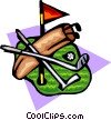 Vector Clipart graphic  of a Golf bag with clubs and