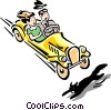 Vector Clipart image  of a car about to hit black cat
