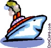 Vector Clip Art image  of a cartoon boat