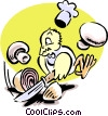 Vector Clipart illustration  of a chef bird chopping onions and