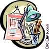 Vector Clip Art graphic  of a desk stationary