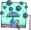 raining computers Vector Clipart image