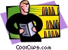 education, library student and books Vector Clip Art image
