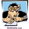 Vector Clip Art image  of a monkey's running the zoo