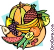 Vector Clip Art picture  of a Melons and tropical fruits