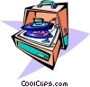 Vector Clip Art graphic  of a 50's style record player