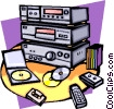 Vector Clipart picture  of a home entertainment