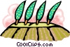 Vector Clip Art image  of a poplar grove in wind