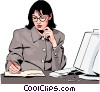 woman working Vector Clip Art image