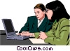 Vector Clip Art picture  of a women at work
