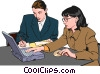 Vector Clip Art image  of a women at work