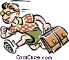 Vector Clip Art graphic  of a Schoolboy running to school
