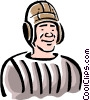 Vector Clip Art picture  of a Old-fashioned football player