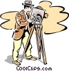 Vector Clipart graphic  of a old-fashioned filming