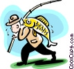 Vector Clip Art picture  of a carrying the big one home