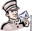 old-fashioned mailman Vector Clipart image