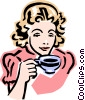 old-fashioned woman with tea Vector Clip Art picture