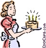 Vector Clip Art picture  of a Mom and birthday cake