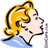 Vector Clip Art graphic  of a old-fashioned lady - face