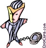 Vector Clipart picture  of a prisoner to the computer