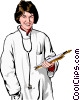 female doctor with clipboard Vector Clipart image