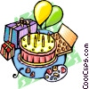 Vector Clip Art graphic  of a Birthday party