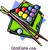 Pool table with ball and cues Vector Clipart image