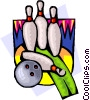 Vector Clip Art image  of a Bowling ball and pins